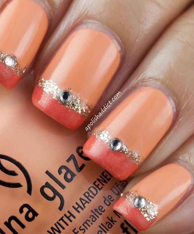unghii cu gel portocalii