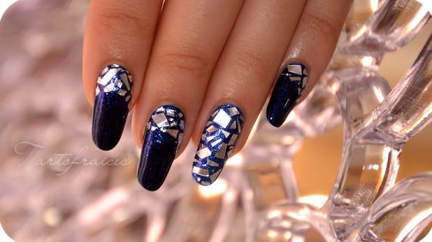 unghii mireasa albastre