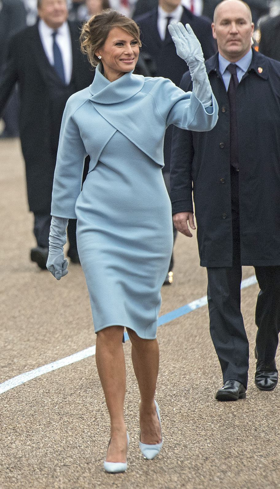 First Lady Melania Trump walk in the inaugural parade after President Trump was sworn-in as the 45th President in Washington, D.C. on January 20, 2017. Credit: Kevin Dietsch/UPI /CNP/MediaPunch Credit: MediaPunch/face to face