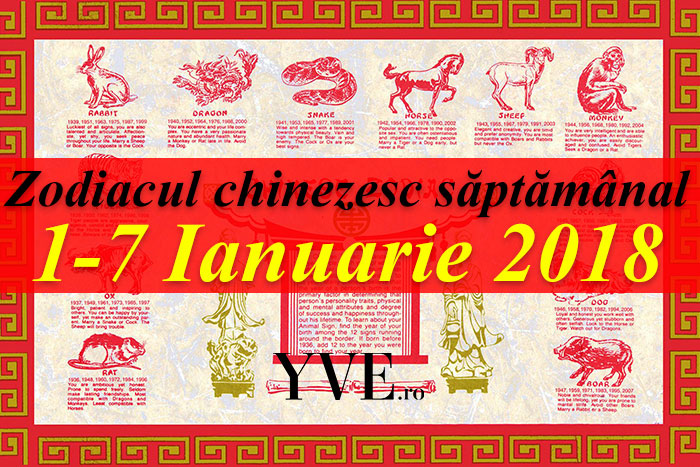 Zodiacul chinezesc săptămânal 1-7 Ianuarie 2018
