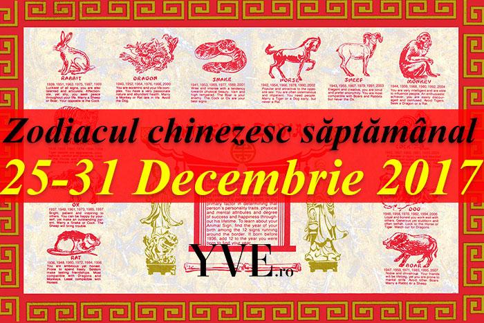 Zodiacul chinezesc săptămânal 25-31 Decembrie 2017