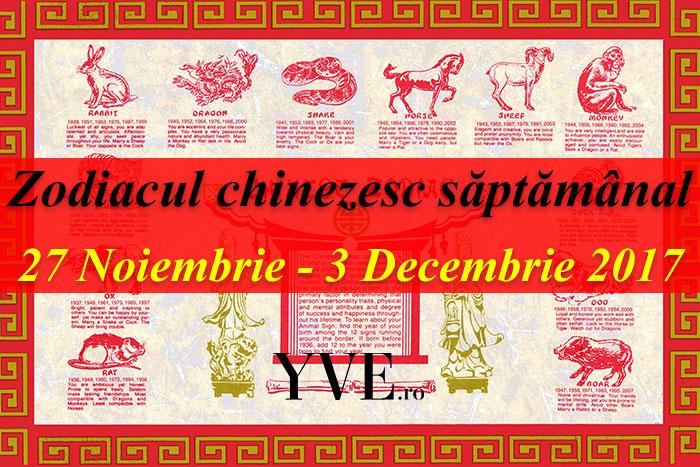 Zodiacul chinezesc săptămânal 27 Noiembrie - 3 Decembrie 2017