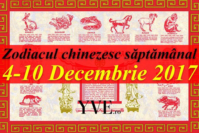 Zodiacul chinezesc săptămânal 4-10 Decembrie 2017