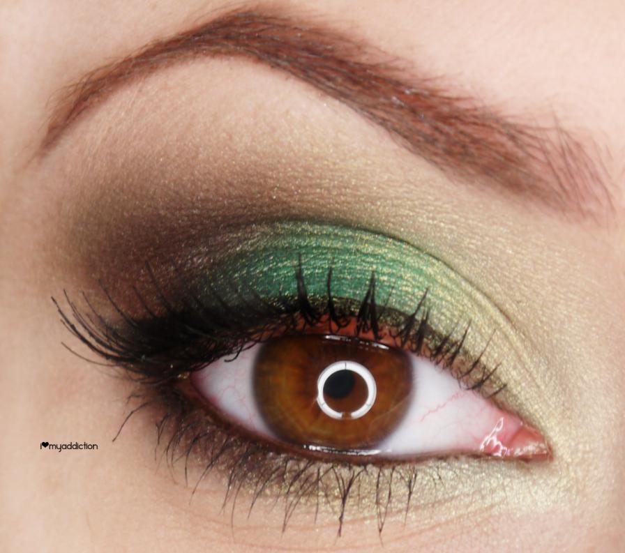 Machiaj cu verde de zi pentru ochii caprui