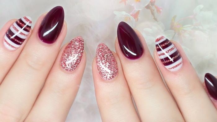 unghii-ascutite-cu-grena-si-roz