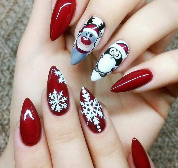 unghii cu pinguini si reni