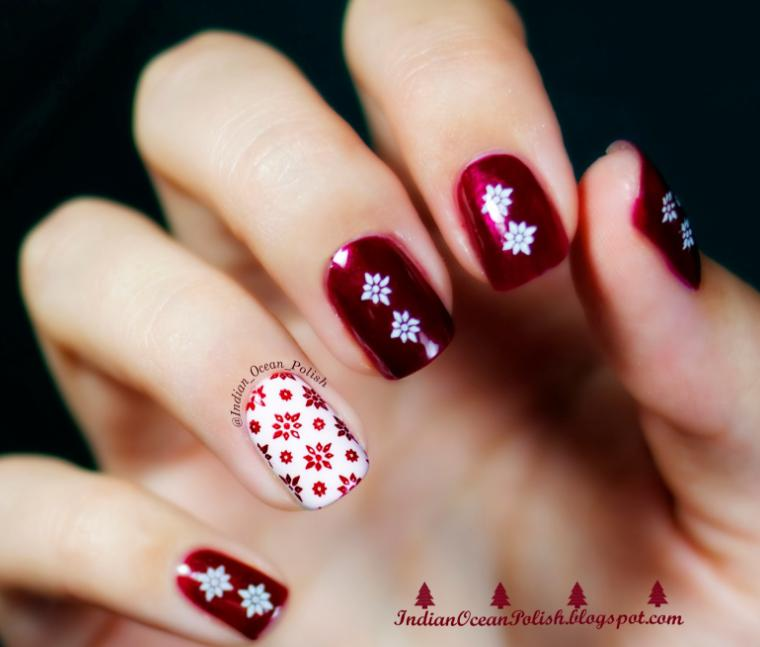 model unghii rosii cu fulgi de zapada