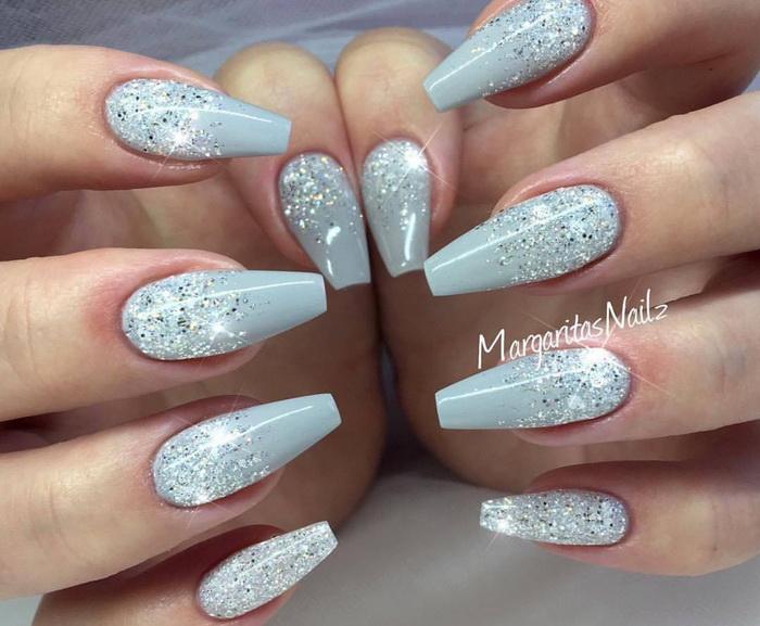 unghii cu sclipici pentru Iarna