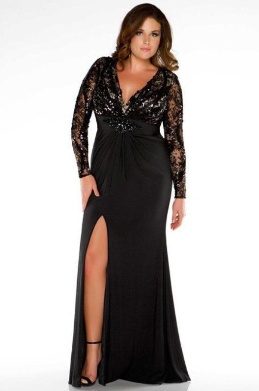 Rochie de seara pentru femei plinute si scunde cu slit
