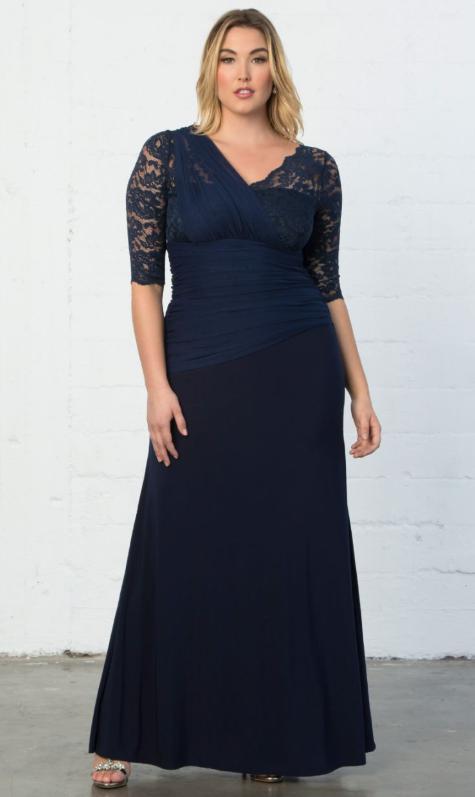 Rochie de seara pentru femei plinute si scunde de tip maxi