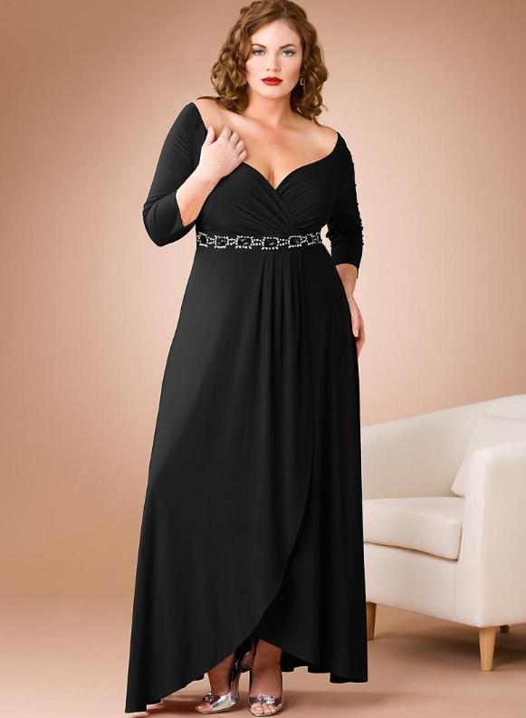 Rochie de seara pentru femei plinute si scunde din matase