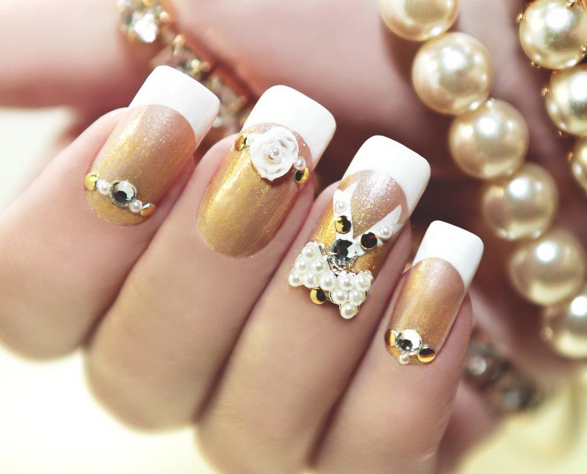unghii cu gel cu perle