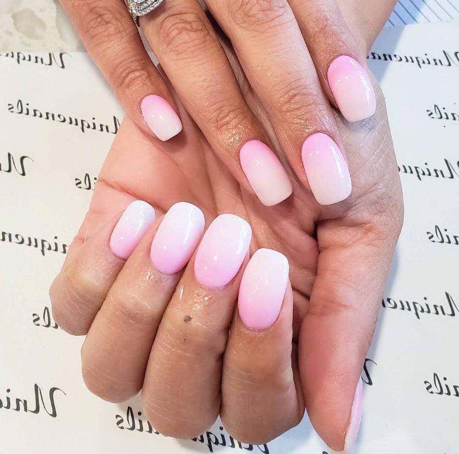 unghii cu gel roz ombre