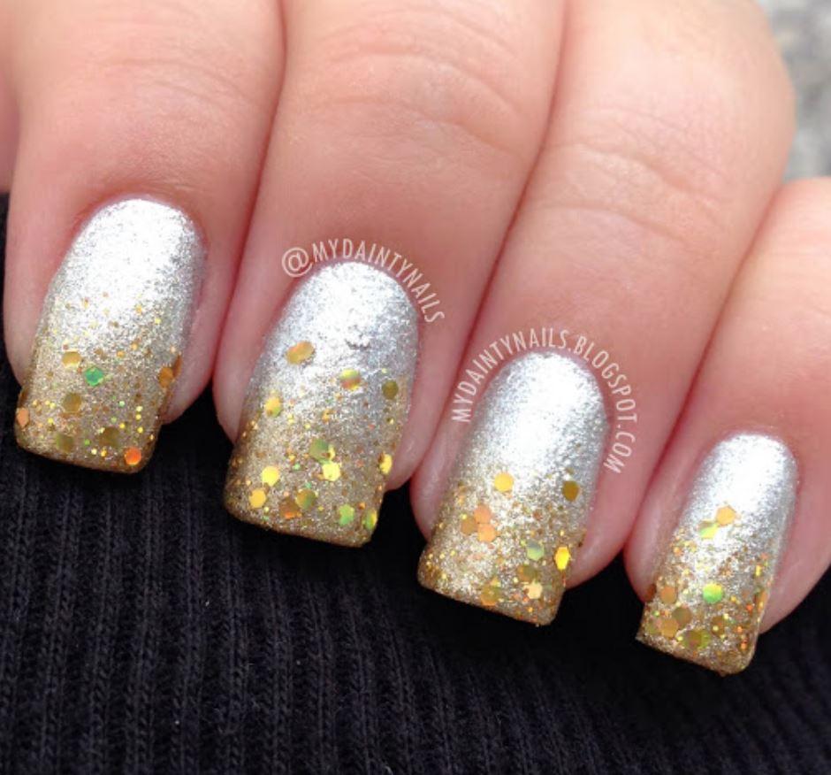 modele unghii 2021 cu auriu si argintiu